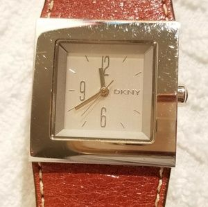 DKNY Silver Dial Watch Brown Leather Strap